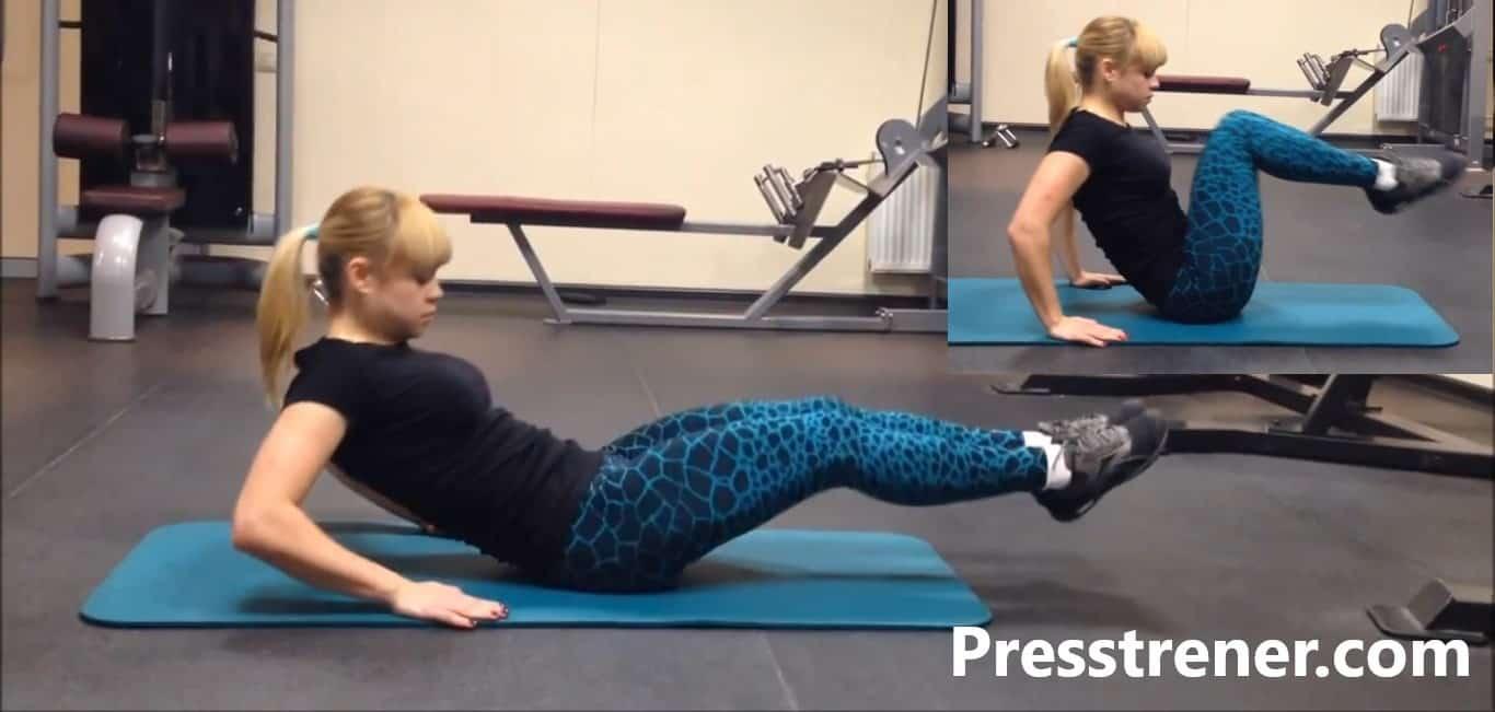 Подтягивание ног к животу груди сидя на полу на пресс техника