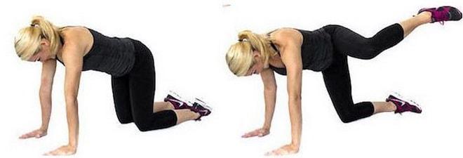 Отведение ноги назад в упоре на коленях фото