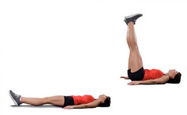 Подъём ног лежа на спине, полу, скамье, техника выполнения